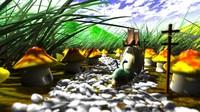3d fantasy mushroom model