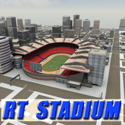 3d model multi football stadium rt
