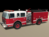 Low-Poly Fire Engine