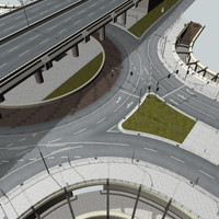 3d roundabout highway interchange (detailed)