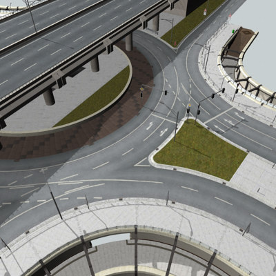 3d roundabout highway street signs model