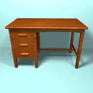 3d model light cherry desk