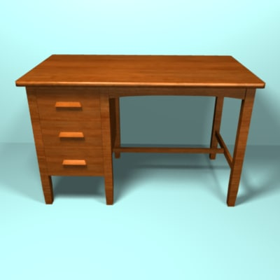 3d model light cherry desk