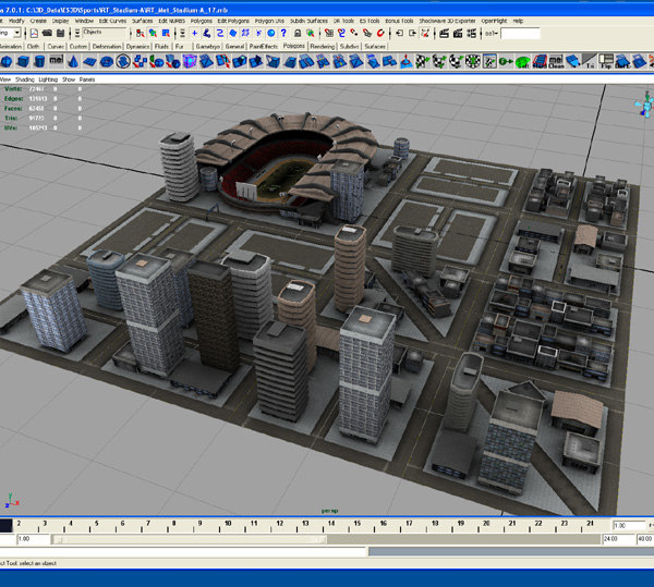 3d football stadium buildings rt