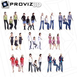 30 people casual women 3d max