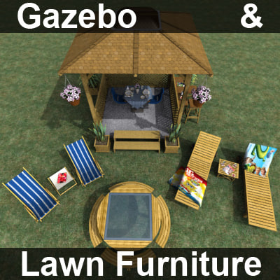 gazebo furniture table 3d model