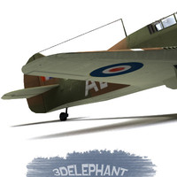 3d model hawker hurricane