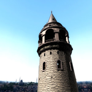 3d galata tower day model