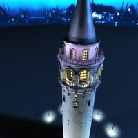 3ds galata tower night time