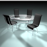 3d model dining table chairs