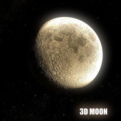 realistic moon 3d model