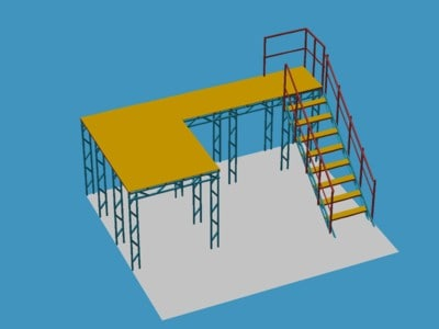 simple steel frame structure 3d model