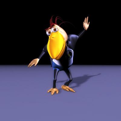 cartoon crow cro updated 3d model