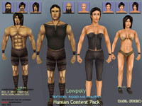 male female characters 3d model