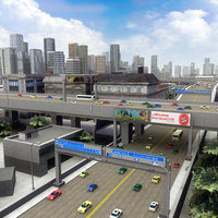 3d model multi city building highways