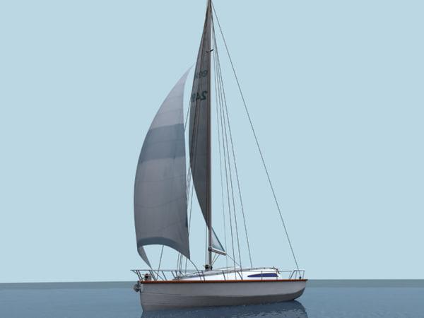 3d sail boat yacht model