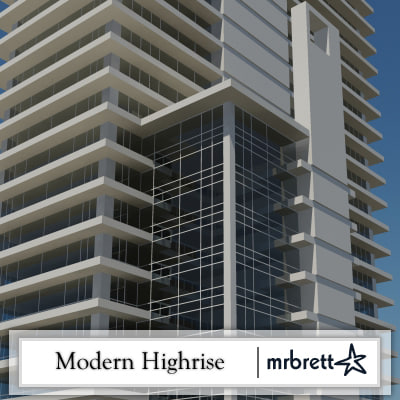 3d modern office tower model
