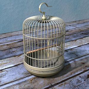 bronze bird cage birdcage 3d lwo