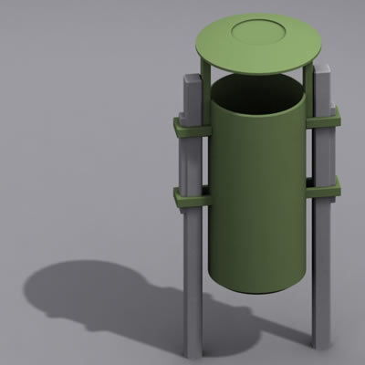 dustbin bin 3d max