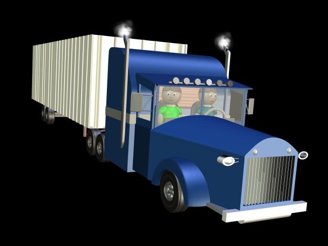 semi truck driver 3ds