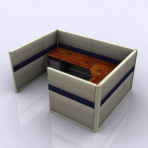 walls desk space 3d model
