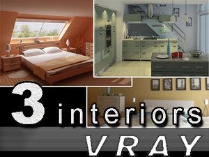 set 3 home interiors 3d max