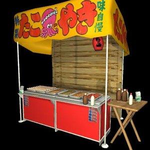 3d japanese street vendor