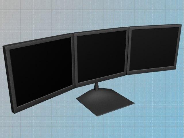 triple display flat panel 3d model