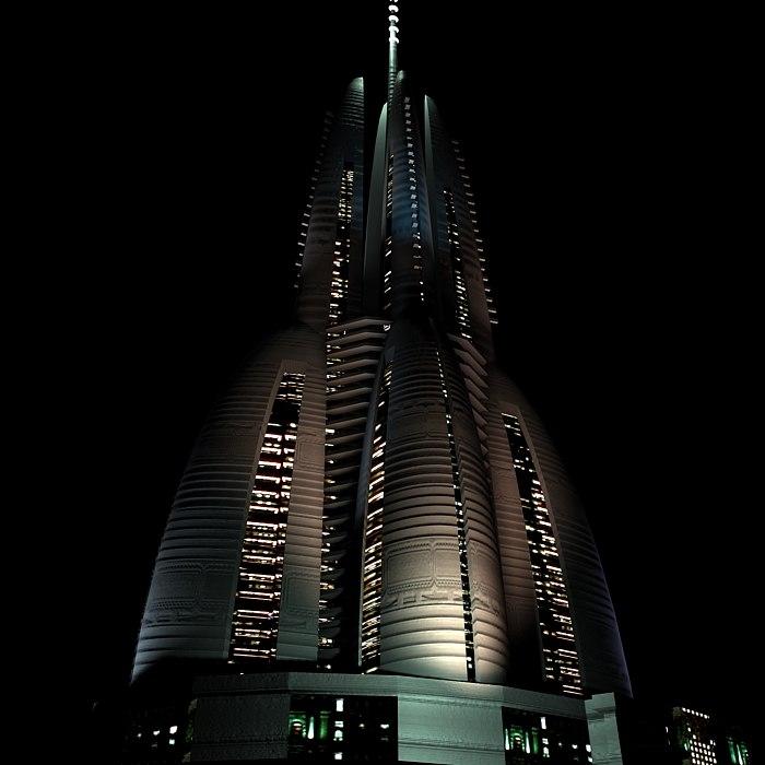 build skyscraper futuristic 3d model