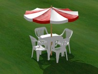 Plastic table and chairs with sunshade.3dm