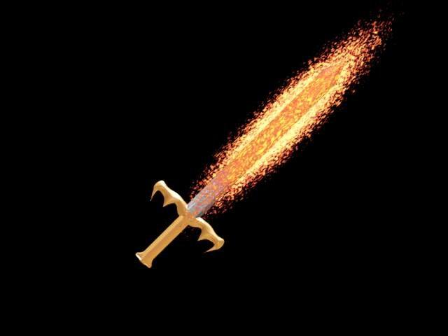 flaming sword 3d model