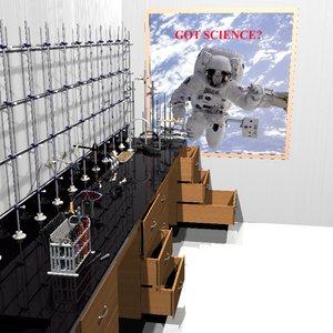 3d scientific science bench props model