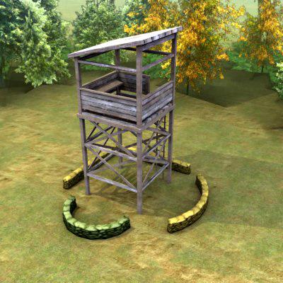multi guard tower 3d max