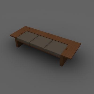 3d contemporary bench