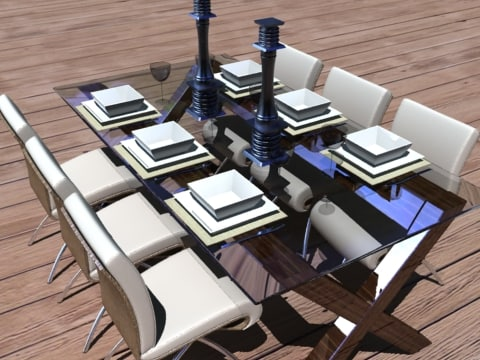 3d model of dining setting