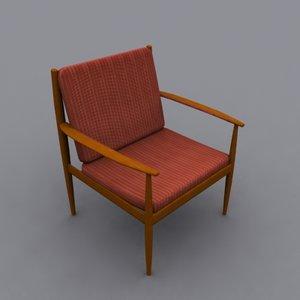 grete jalk lounge chair 3d obj