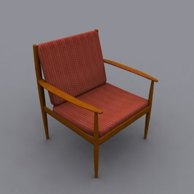 grete jalk lounge chair 3d obj