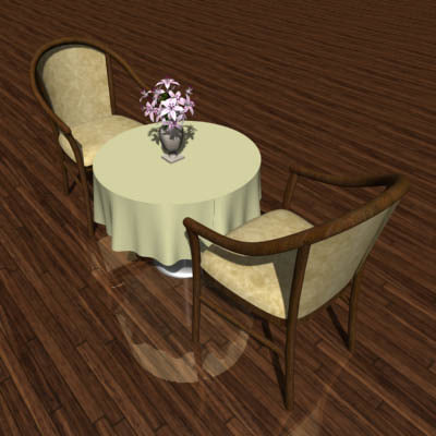 3ds max club chairs table tablecloth