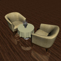3d club chairs table tablecloth model