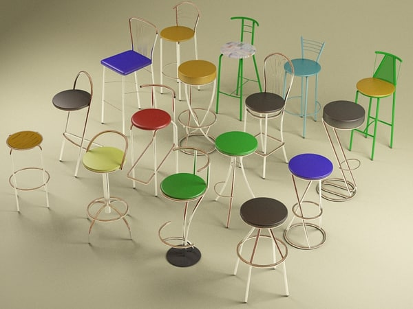 bar chairs 3d 3ds