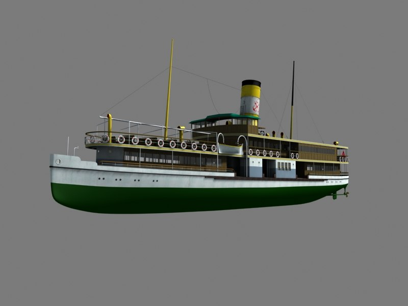 3d guzelhisar steam boat model