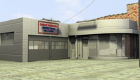 gas station service center 3d max