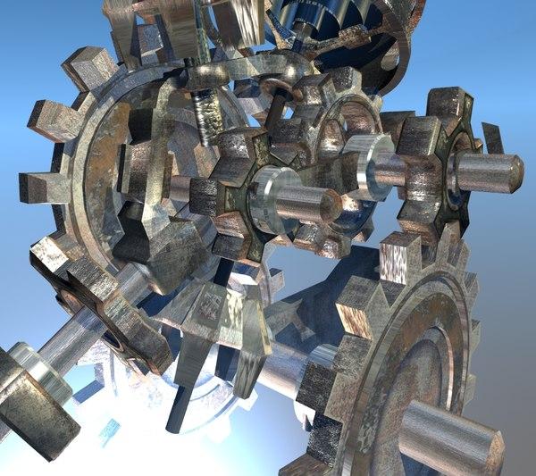 3d gear mechanism model