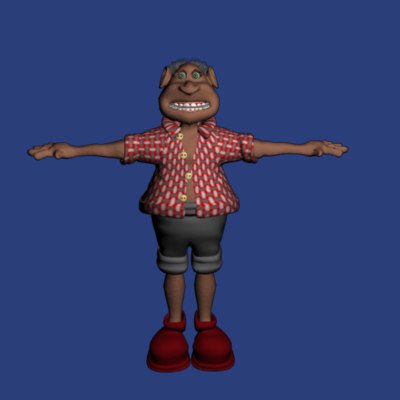 appealing old man cute character 3d ma