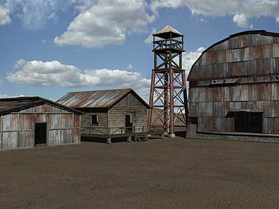 military compound barracks guard tower 3d 3ds