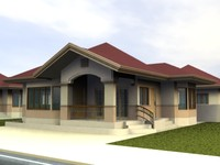 3d 1 storey bungalow model