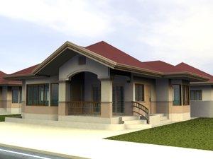 3d 1 storey bungalow model