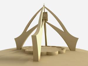 dubai clock tower 3d model