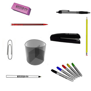 office supplies paperclip pens 3d model