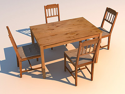 3d max table chairs